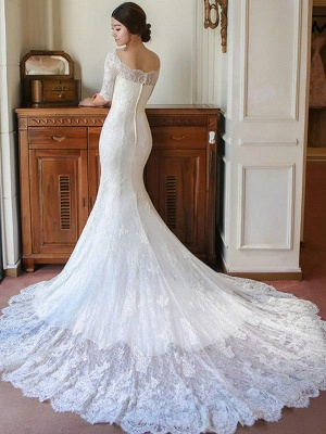 Applique Square Cathedral Train Sexy Mermaid Lace 1/2 Sleeves Wedding Dresses_6
