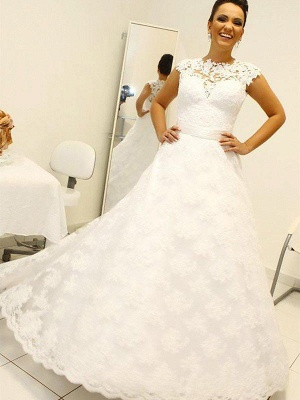 Shabby Chic Floor-Length Scoop Sleeveless Lace Puffy Wedding Dresses_3