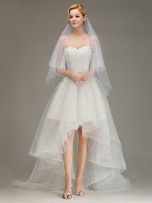 Cut Edge Two Layer Wedding Veil with Comb Simple Soft Tulle Bridal Veil_2