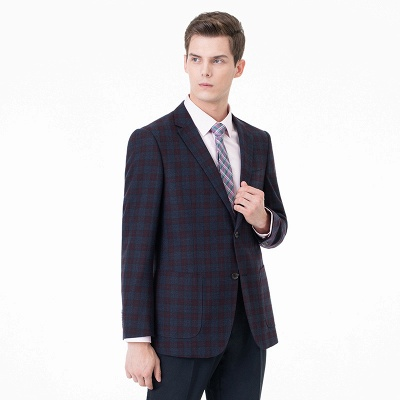 Lattice Peak Lapel Two Pieces with Pants Single Breasted Wedding Suits_3