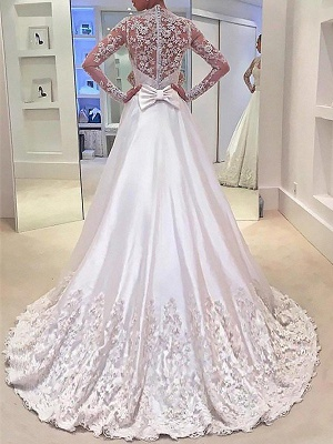 Stunning V-neck Satin Sweep Train Long Sleeves Wedding Dresses_3