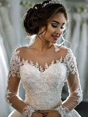 Glamorous Scoop Applique Long Sleeves Puffy Chapel Train Tulle Wedding Dresses_6