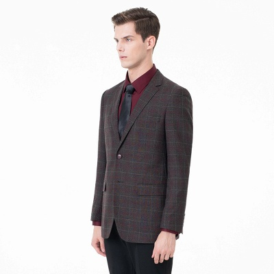 Comfortable Groomsmen Lattice Peak Lapel Two-piece Suit Wedding Suits_3
