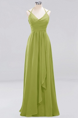 A-line  Spaghetti Straps Sleeveless Ruffles Floor-Length Bridesmaid Dresses_20