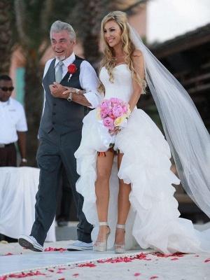 Sleeveless Sweetheart Asymmetrical Organza A-Lines Wedding Dresses_4