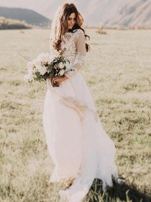 Alluring Long Sleeves Floor-Length Applique Tulle Scoop Wedding Dresses_3
