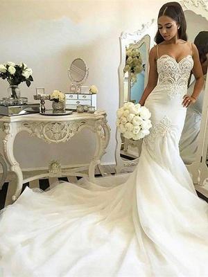 Spaghetti Straps Sleeveless Tulle Chapel Train Sexy Mermaid Wedding Dresses_3