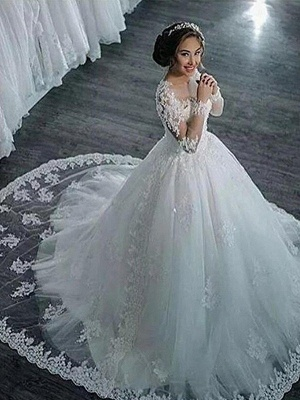 Glamorous Scoop Applique Long Sleeves Puffy Chapel Train Tulle Wedding Dresses_4