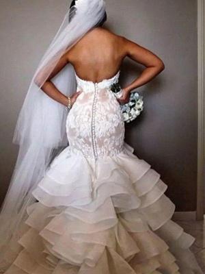 Chapel Train Organza Lace Sexy Mermaid Wedding Dresses | Ruffles Sweetheart Applique Bridal Gowns_4