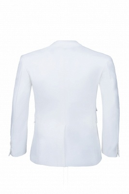 High Quality White Back Vent Two Button Casual Suit Groomsmen Peak Lapel_3