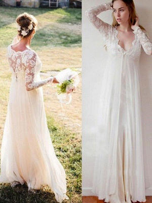 Charming Floor-Length V-neck Long Sleeves Chiffon Empire Lace Wedding Dresses_1