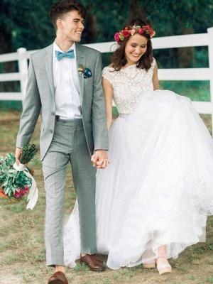Glamorous Court Train Bateau Beaded Tulle Sleeveless Puffy Wedding Dresses_1