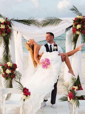 Sleeveless Sweetheart Asymmetrical Organza A-Lines Wedding Dresses_3