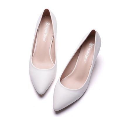 Fashion Pionted Toe PU Kitten Heel Wedding Shoes_3