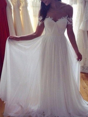 Dazzling Off-the-Shoulder Sweep Train Chiffon Sleeveless Applique Lace Wedding Dresses_3