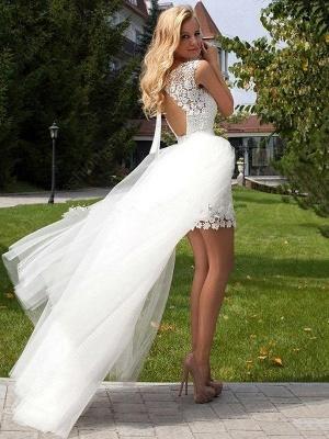 Gorgeous Lace Tulle Sleeveless Wedding Dresses | Column Scoop Floor-Length Birdal Gowns_3