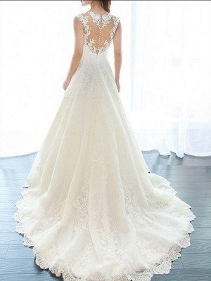 Alluring Court Train V-neck Applique Sleeveless Lace Wedding Dresses_4