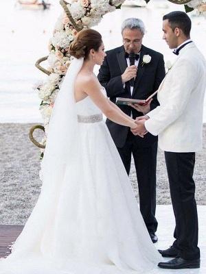 Elegant Sleeveless Sweep Train Sweetheart Tulle Beaded Wedding Dresses_5