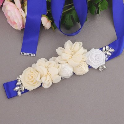 Fashion Chiffon Flowers Wedding Sash with Beadings_2