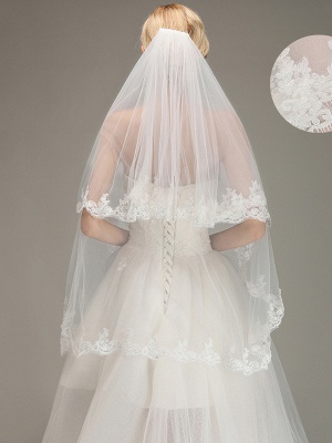 Two Layers Tulle  Appliques Comb Wedding Veil_1