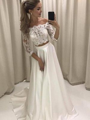 Glamorous Off-the-Shoulder Satin 3/4 Sleeves Court Train Applique Wedding Dresses_3