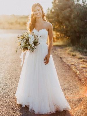 Glamorous Floor-Length Tulle Ruched Sweetheart Sleeveless Wedding Dresses_1