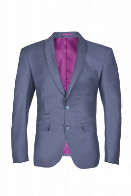 Shawl Lapel Two Button Back Vent Light Grey Single Breasted Casual Suit_1