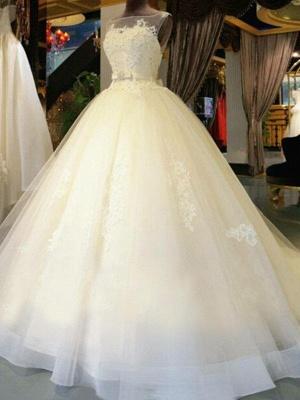 Sleek Off-the-Shoulder Sleeveless Ribbon Beaded Sweep Train Applique Lace Puffy Wedding Dresses_3
