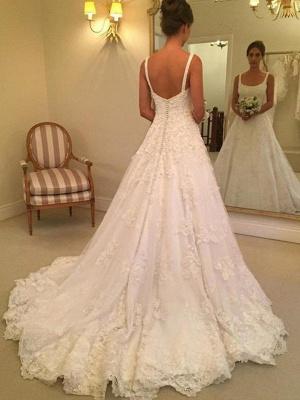 Dazzling Court Train Straps Sleeveless Square Lace Applique Wedding Dresses_1