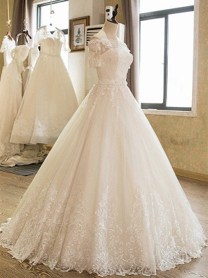 Glamorous Floor-Length Tulle 1/2 Sleeves  Applique Puffy Off-the-Shoulder Lace Wedding Dresses_4