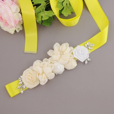 Fashion Chiffon Flowers Wedding Sash with Beadings_7