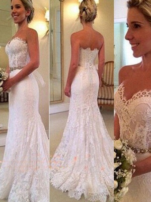 Glamorous  Sleeveless Sweep Train Sweetheart Applique Sexy Mermaid Lace Wedding Dresses_1