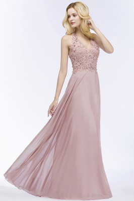 A-line  Appliques V-neck Sleeveless Floor-Length Bridesmaid Dresses with Pearls_3