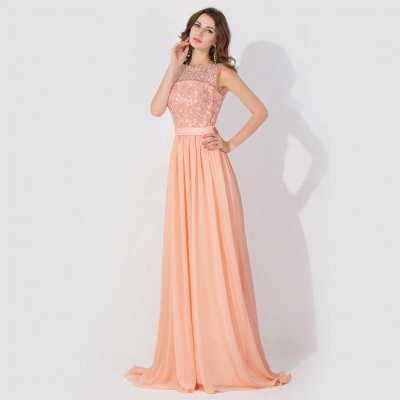 Cheap A-line Chiffon Tulle Lace Ruffles Bridesmaid Dress in Stock_5