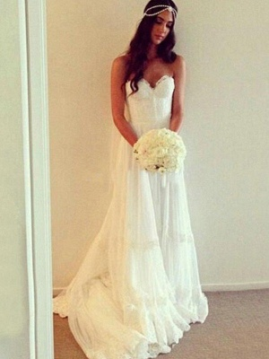Charming Court Train Sleeveless Sweetheart Tulle Lace Wedding Dresses_3