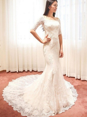 Applique Square Cathedral Train Sexy Mermaid Lace 1/2 Sleeves Wedding Dresses_5