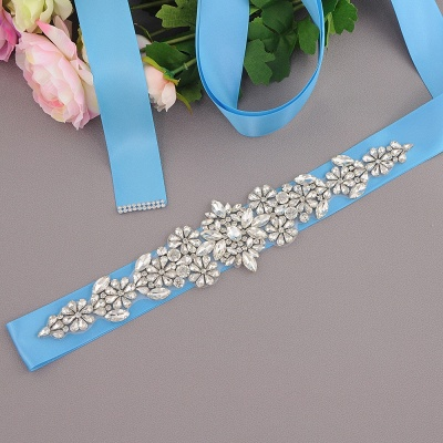 Satin Flowers Pattern Wedding Sash with Pearls_8