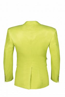 Sage Two Button Latest Design Peak Lapel Wedding Suit Back Vent_3
