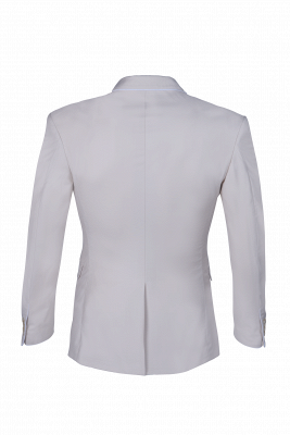 Fashion Peak Lapel Silver Single Breasted Wedding Suit For Men Back Vent_3