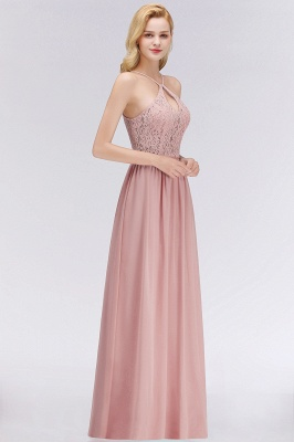 Halter Floor-Length Keyhole Lace Chiffon Long Bridesmaid Dress_4