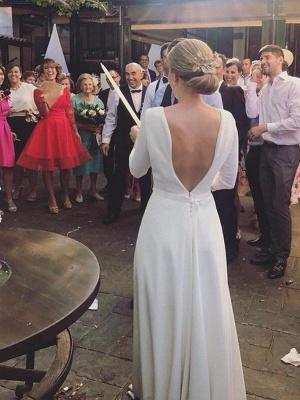 Glamorous Sweep Train Ruffles Scoop Satin 3/4 Sleeves Wedding Dresses_4