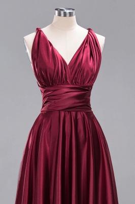 Elegant Long Burgundy Satin One Shoulder Bridesmaid Dresses_11