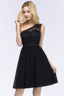A-Line  Lace One-shoulder Short-Sleeves Knee-Length Bridesmaid Dresses with Sash_4