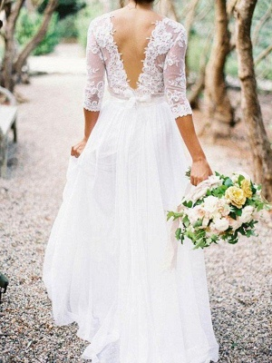 Lace Chiffon Applique Wedding Dresses | V-neck Floor-Length 1/2 Sleeves  Bridal Gowns_3