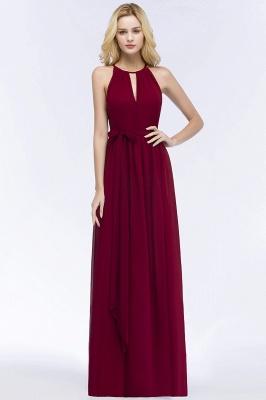 Vintage A-Line  Halter Sleeveless Ruffles Floor-Length Bridesmaid Dresses with Bow Sash_4