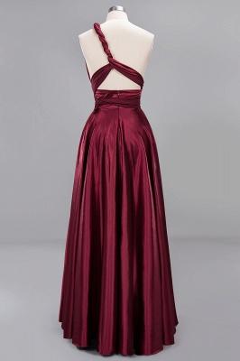 Elegant Long Burgundy Satin One Shoulder Bridesmaid Dresses_8