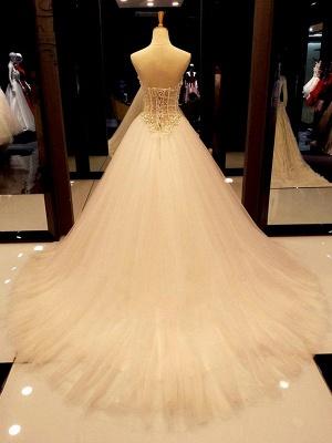 Sweetheart Court Train Tulle Puffy Sleeveless Beaded Wedding Dresses_3