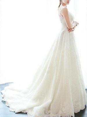 Alluring Court Train V-neck Applique Sleeveless Lace Wedding Dresses_5