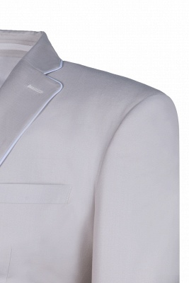 Fashion Peak Lapel Silver Single Breasted Wedding Suit For Men Back Vent_5