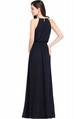 Simple A-Line  Halter Sleeveless Floor-Length Bridesmaid Dresses_2